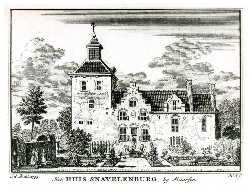 Kasteel Snaafburg in Maarssen. Tekening van Jan de Beijer, 1749
